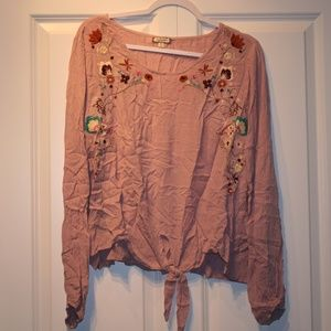 Eyeshadow XL Peasant Blouse with Embroidery